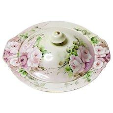 Vintage Covered Vegetable Bowl  - Porcelain  - Hand Painted Roses