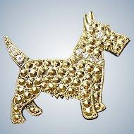 Scottie Dog Pin - 1928 Jewelry Company - Faux Marcasite  (FREE SHIP)