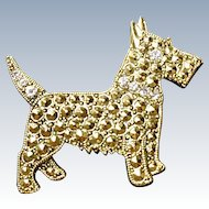 Scottie Dog Pin - 1928 Jewelry Company - Faux Marcasite  (FREE SHIP)