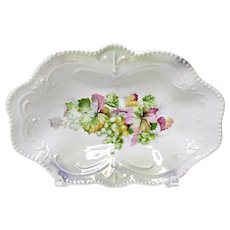 Vintage Germany Lustre Ware Dish - Vanity - Small Relish - Grape - Beaded Edge