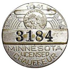 Vintage WWII - 1941 Minnesota Chauffeur Badge #3184 - License  (FREE SHIP)