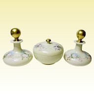 Vienna Austria - Vanity - Dresser - Porcelain Cologne and Powder Box Set - Hand Painted Pink Roses - ca. 1890-1908
