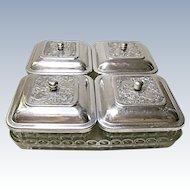 Vintage 30's, 40's, - 9 Piece Relish - Condiment Set - Pressed Glass - Stamped Aluminum Lids