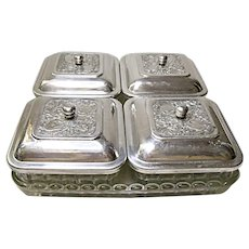 (Hold for Diane.)  Vintage 30's, 40's, - 9 Piece Relish - Condiment Set - Pressed Glass - Stamped Aluminum Lids