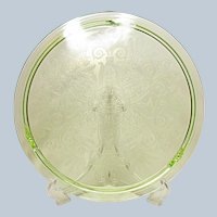 "Large 12"" Vintage Green Depression Era Cake Plate Wheat and Scroll Pattern"
