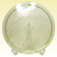 """Large 12"""" Vintage Green Depression Era Cake Plate Wheat and Scroll Pattern"""