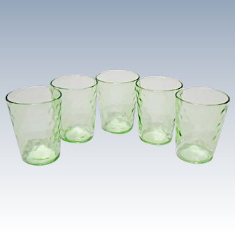 Depression Era - Raindrops - Pebble Optic Whiskey Shot Tumblers - Federal Glass -   1920's - 1930's