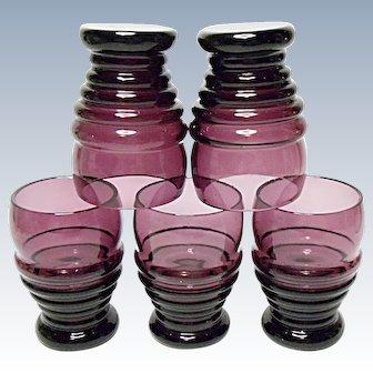 Elegant Cambridge Glass - Whiskey Shot Tumblers - Amethyst - Nautilus 2 ounce  - #3450 Line