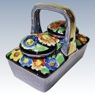 Vintage - Novelty - Porcelain Lusterware  Condiment - Flower Basket Salt and Pepper Shaker Set