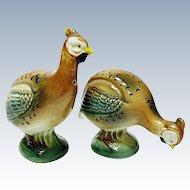 Vintage Novelty Guinea Fowl Pottery Salt and Pepper Shaker Set