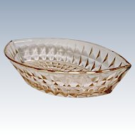 Jeannette Glass Windsor or Windsor Diamond Pink Boat Bowl 1932-1946 - Depression Era