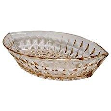 Jeannette Glass Windsor or Windsor Diamond Pink Boat Bowl 1932-1946 - Depression Era