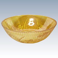 "Vintage Jeannette Glass Iris and Herringbone 8"" Iridescent Marigold Berry Bowl"