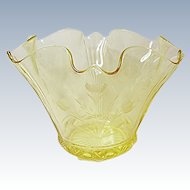 Depression Era - Lancaster Glass Cable Vase Topaz with Engraving/Cutting