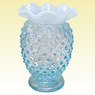 Vintage Fenton Blue Opalescent Mini Hobnail Bud Vase #3855