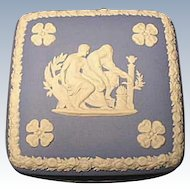 Wedgwood Jasper Ware Trinket Box -  Vanity Jar - Light Blue