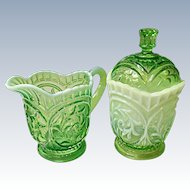 Dugan Circled Scrolls Cream and Sugar Opalescent Green Ca. 1903
