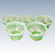 Dugan Circled Scrolls Berry Or Sauce Bowls Opalescent Green Ca. 1903