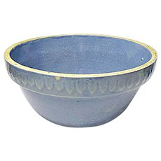"Vintage Blue Glazed Stoneware 7"" Mixing Bowl With Picket Band"
