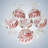 Vintage - Six Indiana Glass Ruby Stained Willow #1008 Footed Punch Cups