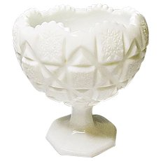 Westmoreland Old Quilt Cupped Rim Footed Milk Glass Compote Bowl