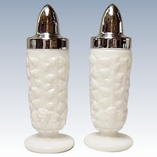 Westmoreland Paneled Grape Footed Milk Glass Salt and Pepper Shakers