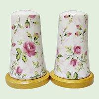 Vintage Lefton Rose Chintz Salt and Pepper Shakers #665R