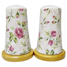 Vintage Lefton Rose Chintz Salt and Pepper Shakers #665R