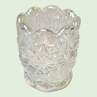 L. E. Smith Glass White Carnival Crystal Lustre Daisy and Button Toothpick Holder