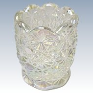 White Carnival Crystal Lustre Daisy and Button Toothpick Holder by L. E. Smith Glass