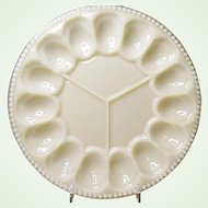 Vintage Aladdin Glass Alacite Deviled Egg and Relish Plate Ca. Pre WWII Ca. 1938-1942