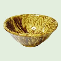 Antique Country Kitchen Yellow Ware Bowl With Drips and Runs