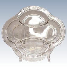 Vintage Imperial 3-part Relish Tray Dish Hand Engraved Elegant Glass