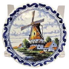 "Oud Delft Polychrome Windmill 4"" Wall Plate - Plaque"