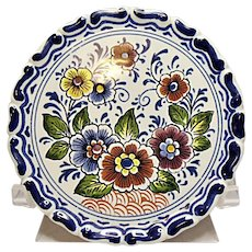 """Oud Delft Polychrome Floral 4"""" Wall Plate - Plaque"""