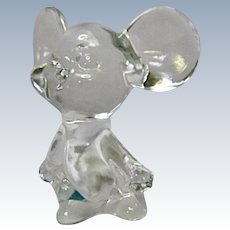 Vintage Fenton Glass Pet - Mouse Crystal Clear 1985