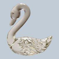 Fenton Glass Pet Swan Crystal Clear 1985