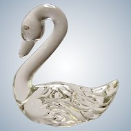 Fenton Glass Pet Swan Crystal Clear 1985