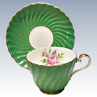 Aynsley Bone China Cup and Saucer - Emerald Green with Rose - Tea Set