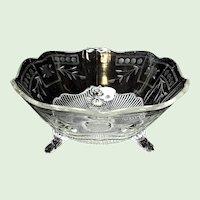 Depression Era - Lancaster Glass Kay Pattern Three Toed Bowl - Engraved - 1932