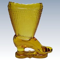 Vintage L. E. Smith Amber Glass Boot