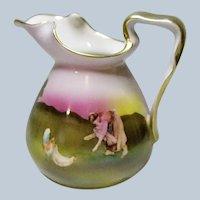 Antique Royal Bayreuth Porcelain Creamer - Girl Feeding Chickens