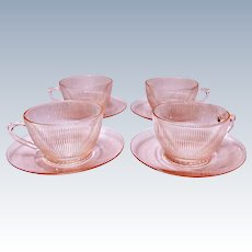 Depression Glass - Jeannette HOMESPUN PINK Cup & Saucer - 4 Sets