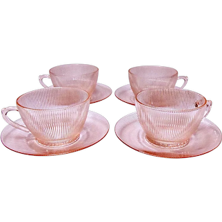 Depression Glass - Jeannette HOMESPUN PINK Cup & Saucer - 4 Sets