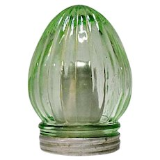 Vintage Depression Era Unique Damp Proof Green Ribbed Salt Shaker