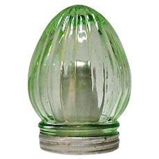 Vintage Depression Era Unique Damp Proof Green Ribbed Salt Shaker