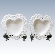 Pair Heart Shaped Milk Glass Trinket Dishes With Open Hearts Edge
