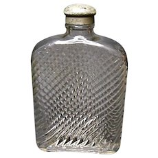 Very Vintage Illinois Glass Co. Glass Hip - Breast Flask - Diamond I Mark - Ca. 1915-1929