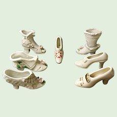 Collectible Porcelain Shoe Lot - 7 Decorative Miniature Shoes  Pre 1950's