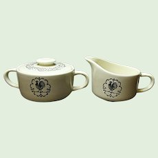 Scio Pottery - Provincial - Rooster Weather Vane Pattern - Creamer And Sugar Bowl Set